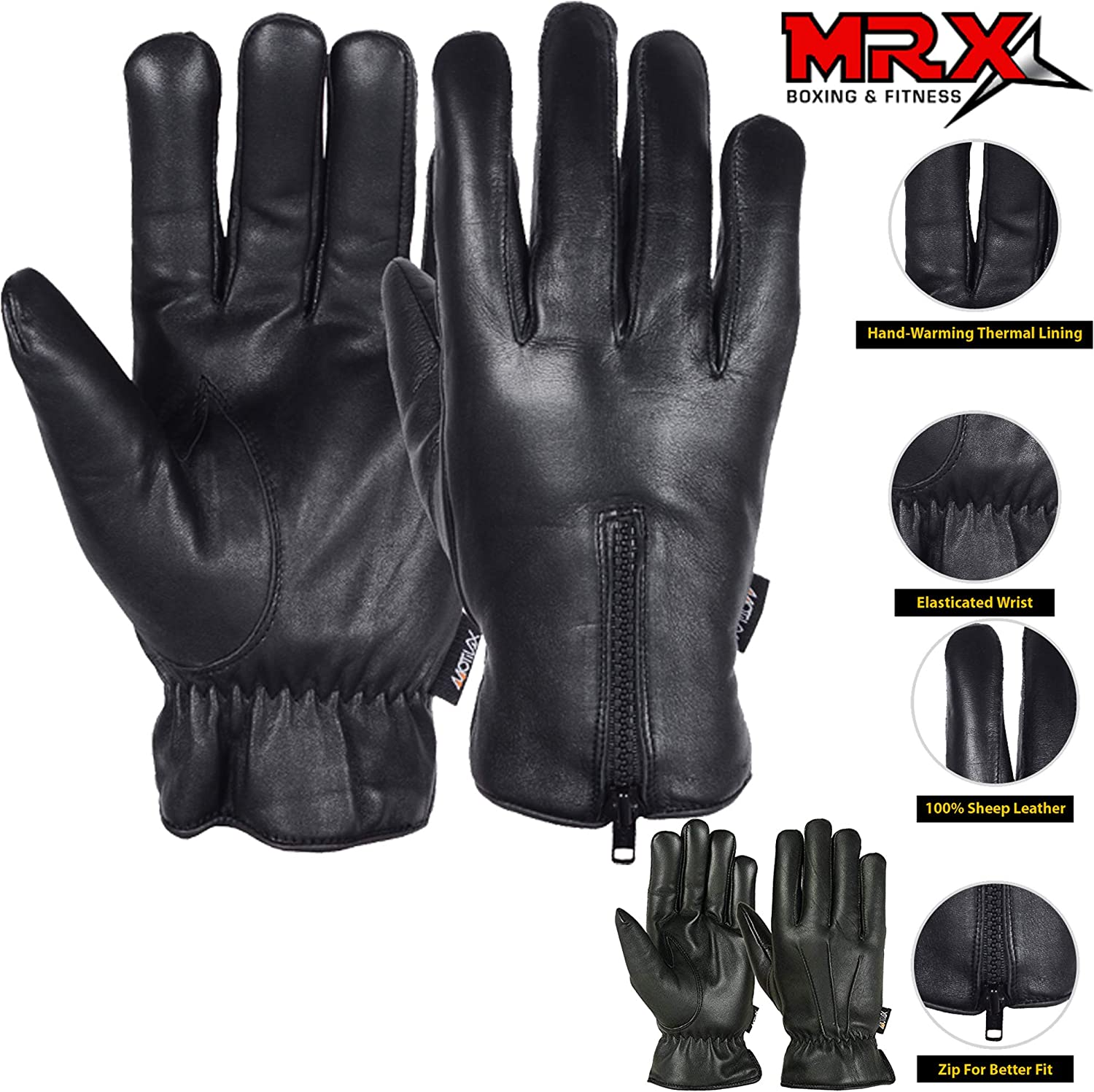 Womens Driving Gloves Ladies Bikers Cycling MRX Brand Leather Finger Black New