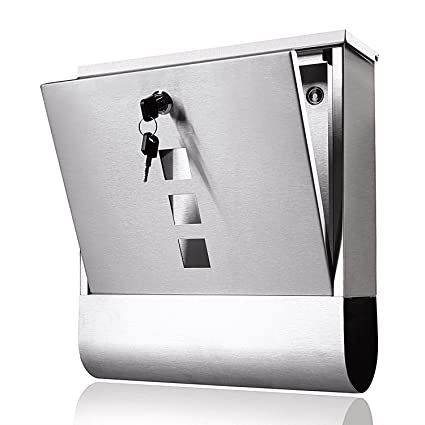 Dtemple Stainless Steel Lockable Hanging Mailbox Drop Box, Modern Secure  Locking Wall Mounted Letterbox Post