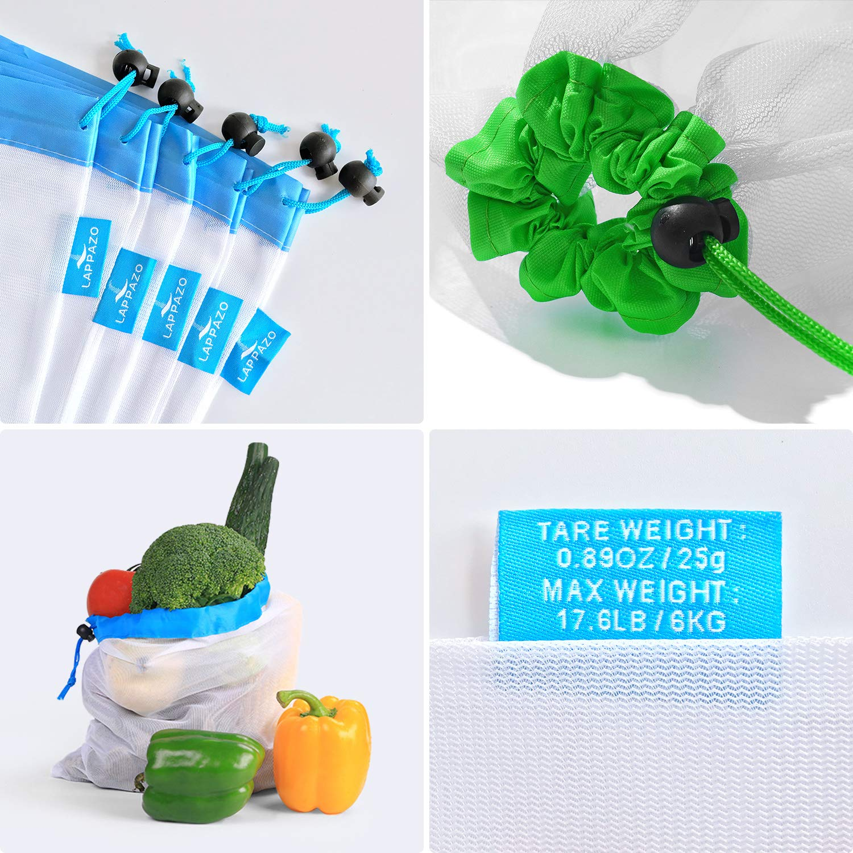 LAPPAZO Bolsas Reutilizables de Compra para Frutas Verduras y Granos (5*L 5*M 5*L