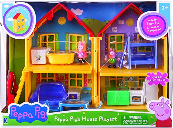 Peppa Pig/'s Home 2 Story Folding House 8 PCS Playset Carrying Case NEW