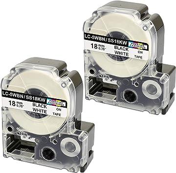 2x  SCHRIFTBAND KASSETTE 9mm SCHWARZ-WEIß für EPSON LabelWorks LW-400