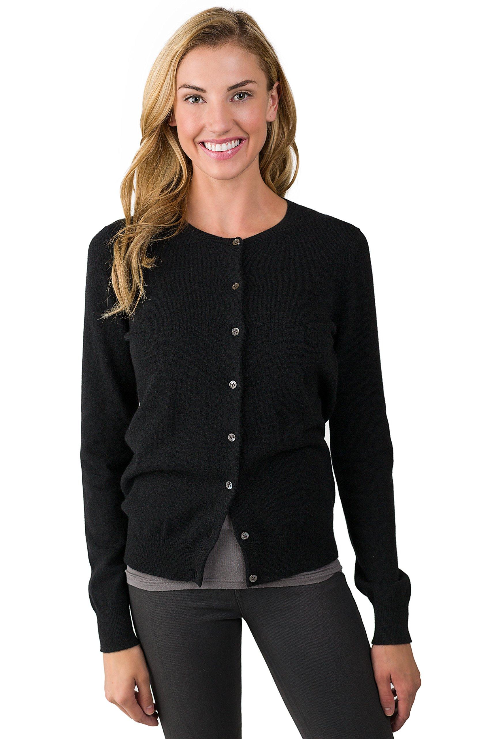 JENNIE LIU Women's 100% Cashmere Button Front Long Sleeve Crewneck Cardigan Sweater (M, BLACK)