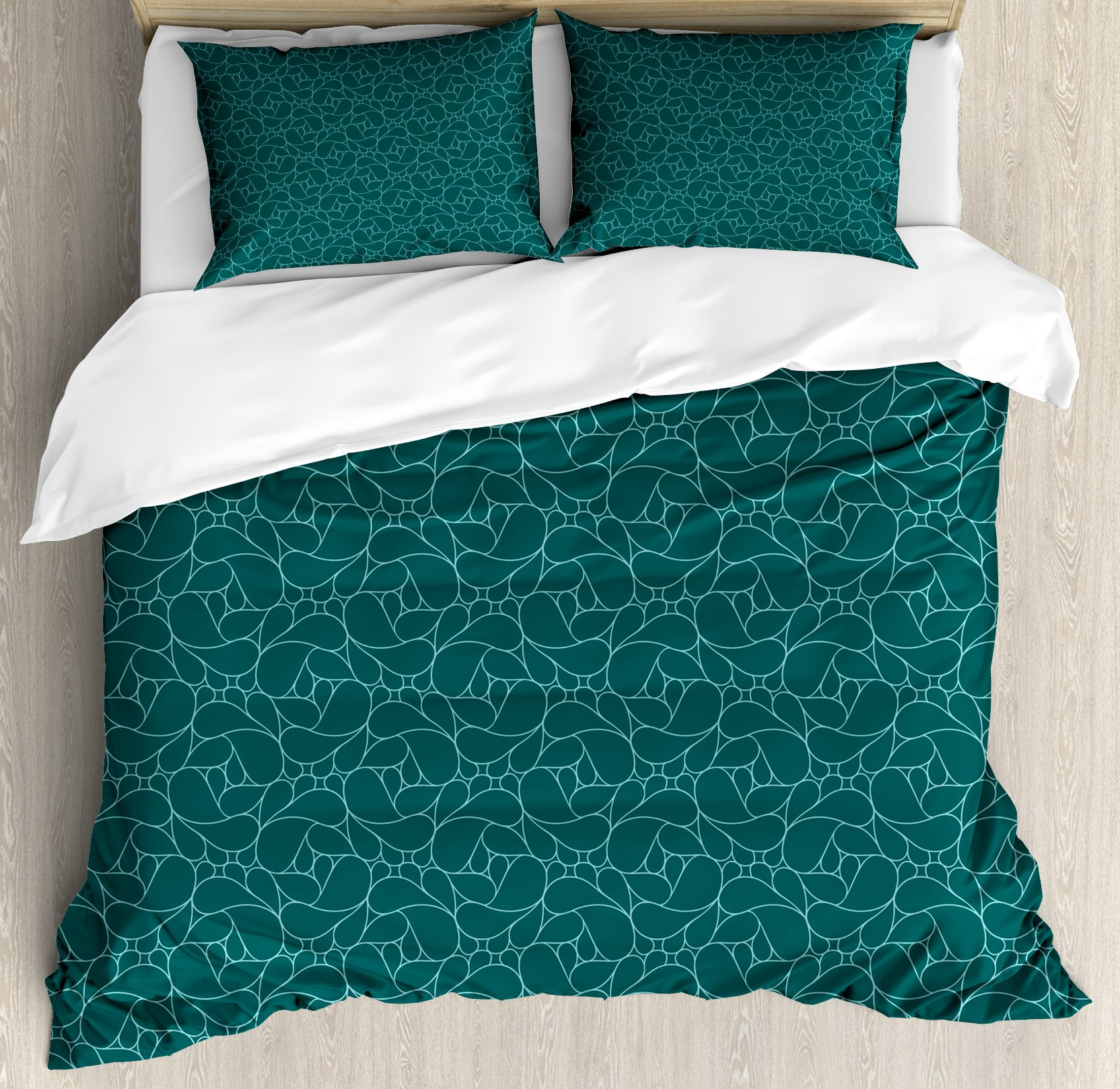 Teal Duvet Cover Set Queen Size by Ambesonne, Abstract Line Art Modern Expressionist Design Water Drop Pattern in Various Sizes, Decorative 3 Piece Bedding Set with 2 Pillow Shams, Teal Turquoise