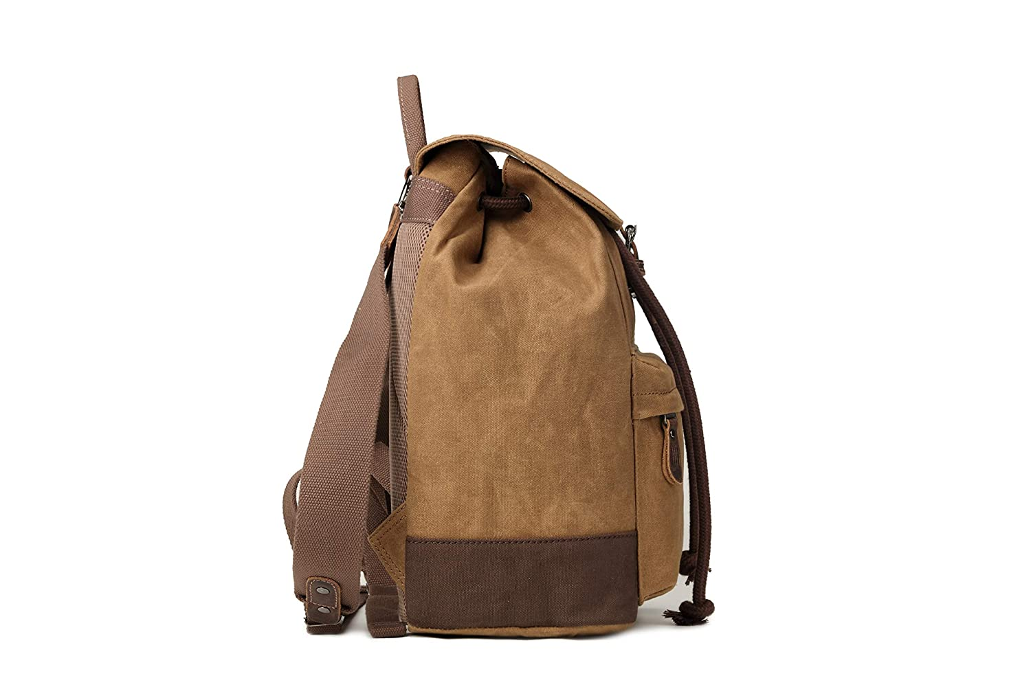 Troop London Heritage Canvas Leather Backpack Tablet Friendly Backpack TRP0442 Canvas Leather Smart Casual Daypack Camel