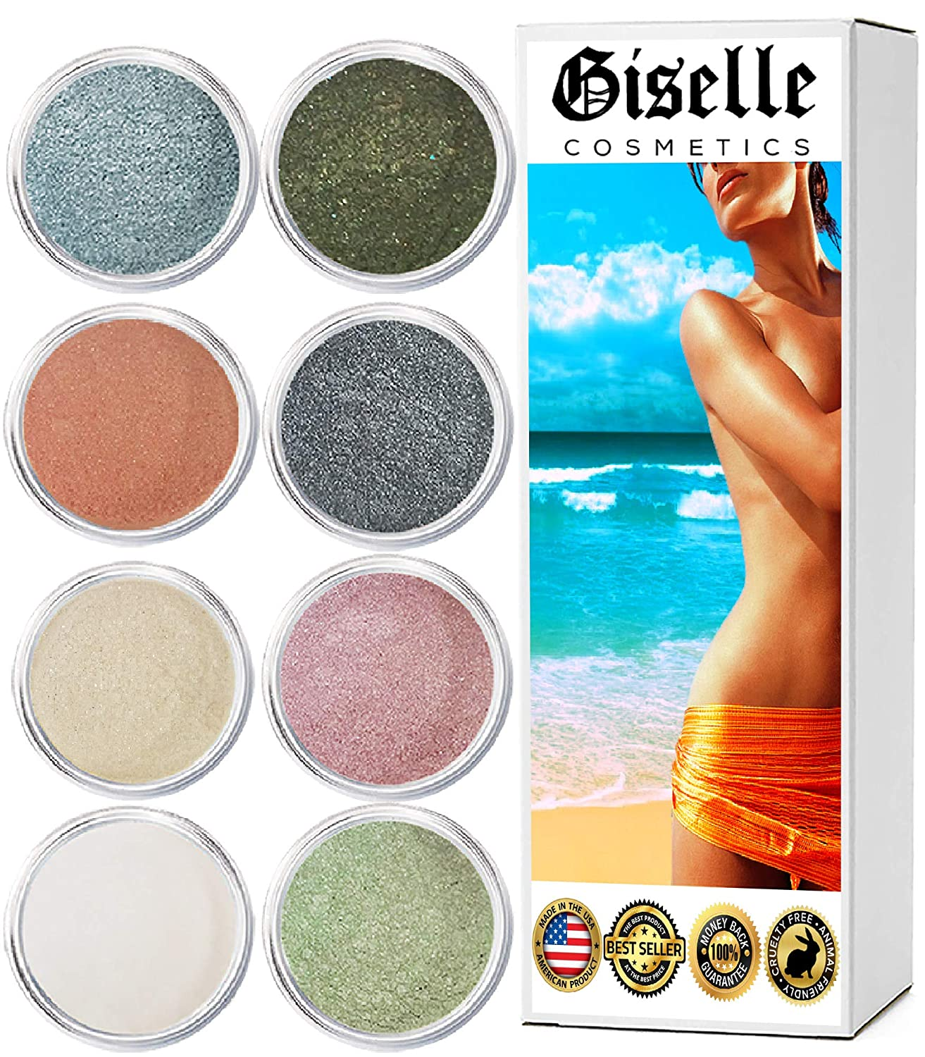 Mineral Loose Powder Makeup Eyeshadow Palette Kit | Pure Organic Natural Pigment Minerals | Everyday Foundation, Concealer, Blush, Eye Shadow, and Contouring Palettes 8 Baby Doll Color, Hues, Shades