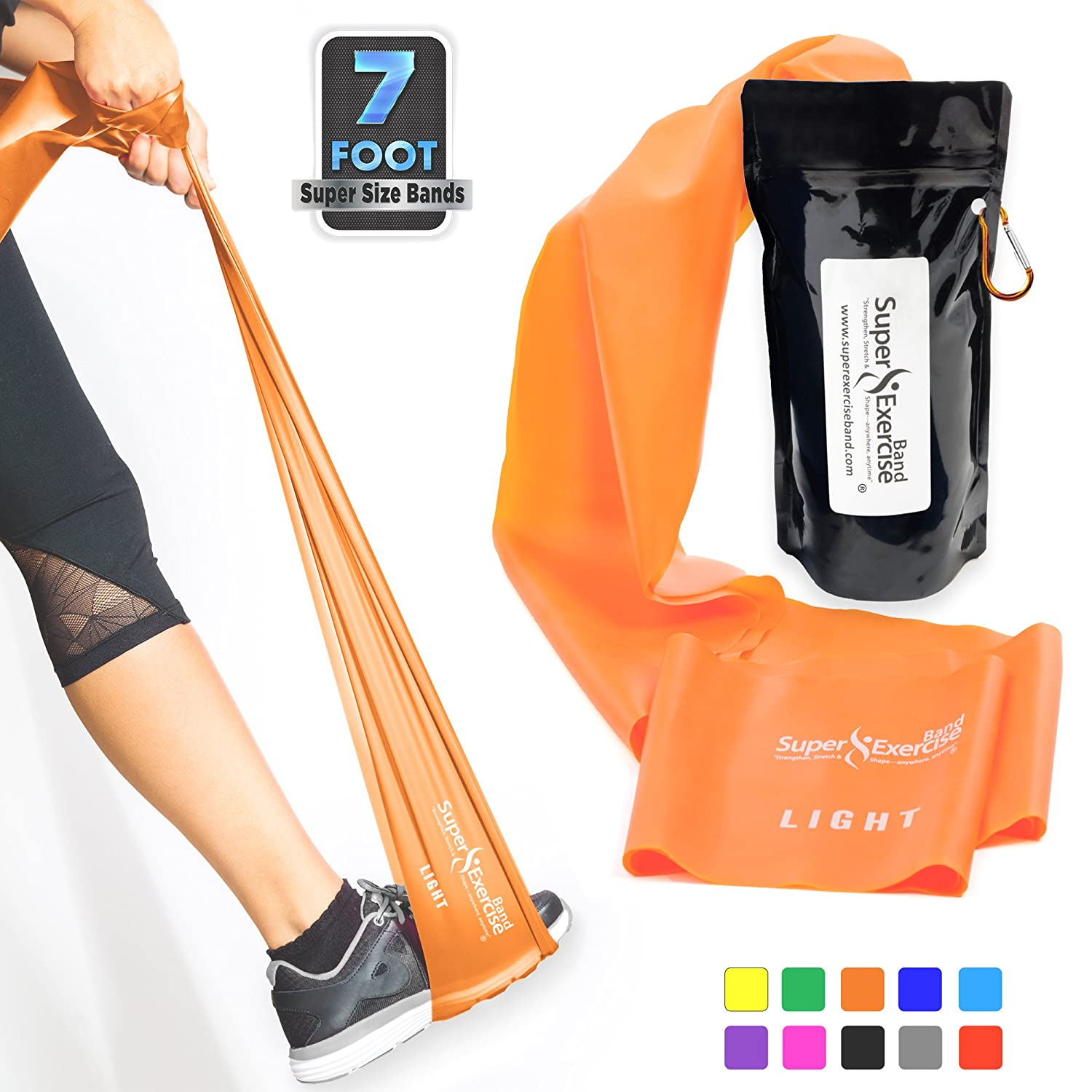 Physical Therapy Pilates Rehab 30 Page E-Book Choose Light Medium or Heavy Strength For Gym Long Latex Free Resistance Bands Plus Mini Door Anchor Carry Bag. Super Exercise Band USA 7 ft Yoga