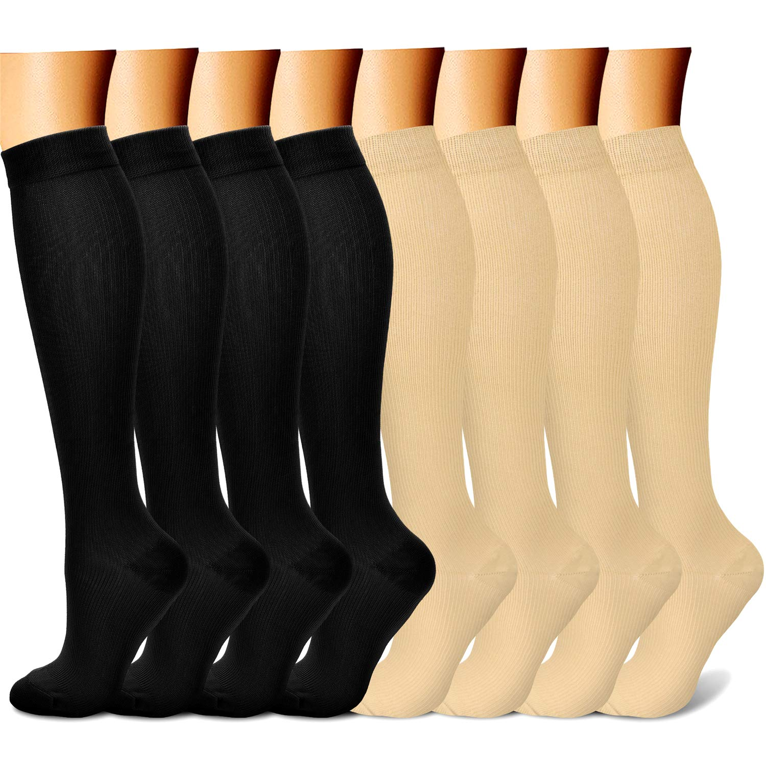 CHARMKING Compression Socks 15-20 mmHg is BEST Graduated Athletic & Medical for Men & Women Running, Travel, Nurses, Pregnant - Boost Performance, Blood Circulation & Recovery(Small/Medium,Black Nude) by CHARMKING