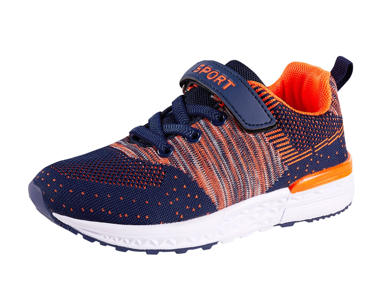 Casbeam Kids Lightweight Breathable Walking Running Tennis Shoes for Boys and Girls Orange 25