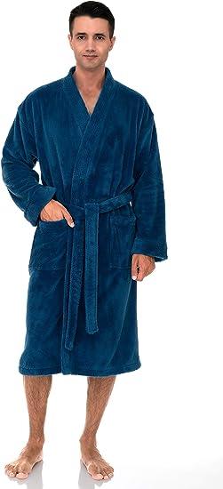 Mens Bathrobe Ultra Soft Cozy Spa Robe plush Fleece Small//Medium Grey Love gift
