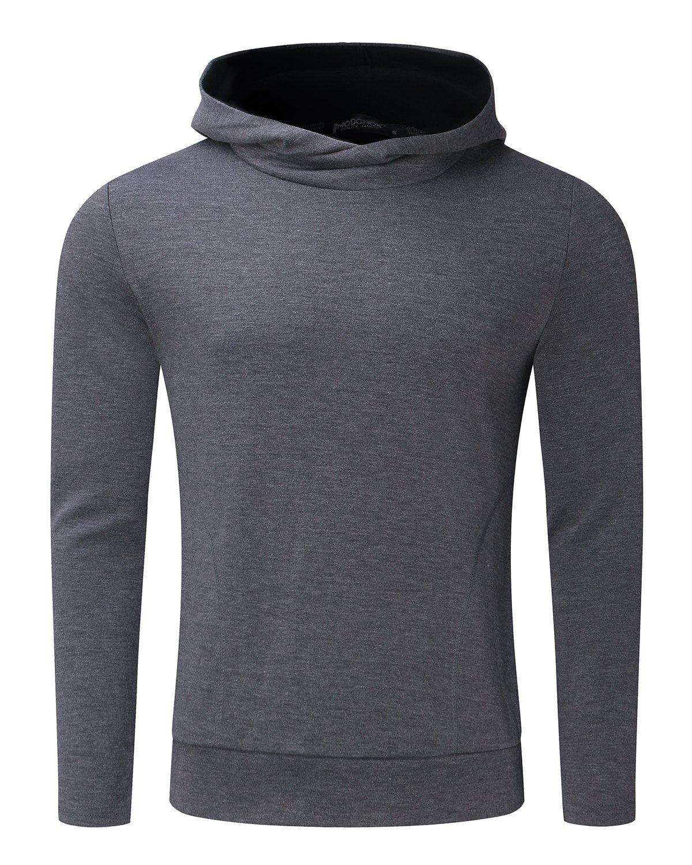 MODCHOK Men's Long Sleeve Hooded T Shirts Cotton Tee Tops Hoodies Sweatshirts Dark Grey XL by MODCHOK (Image #5)