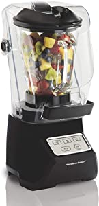 Hamilton Beach 53600 SoundShield Blender, 950 Watts, 3-Speed, with Pulse, Blends Food and Drinks, Stainless Steel Blades, 52 oz. Glass Jar, BPA-Free (Renewed)