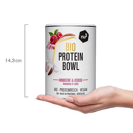 nu3 Protein Bowl orgánico sabor frambuesas & coco | 300g de gachas de avena sin gluten | Desayuno nutritivo 100% vegano | Sin azúcar o saborizantes ...