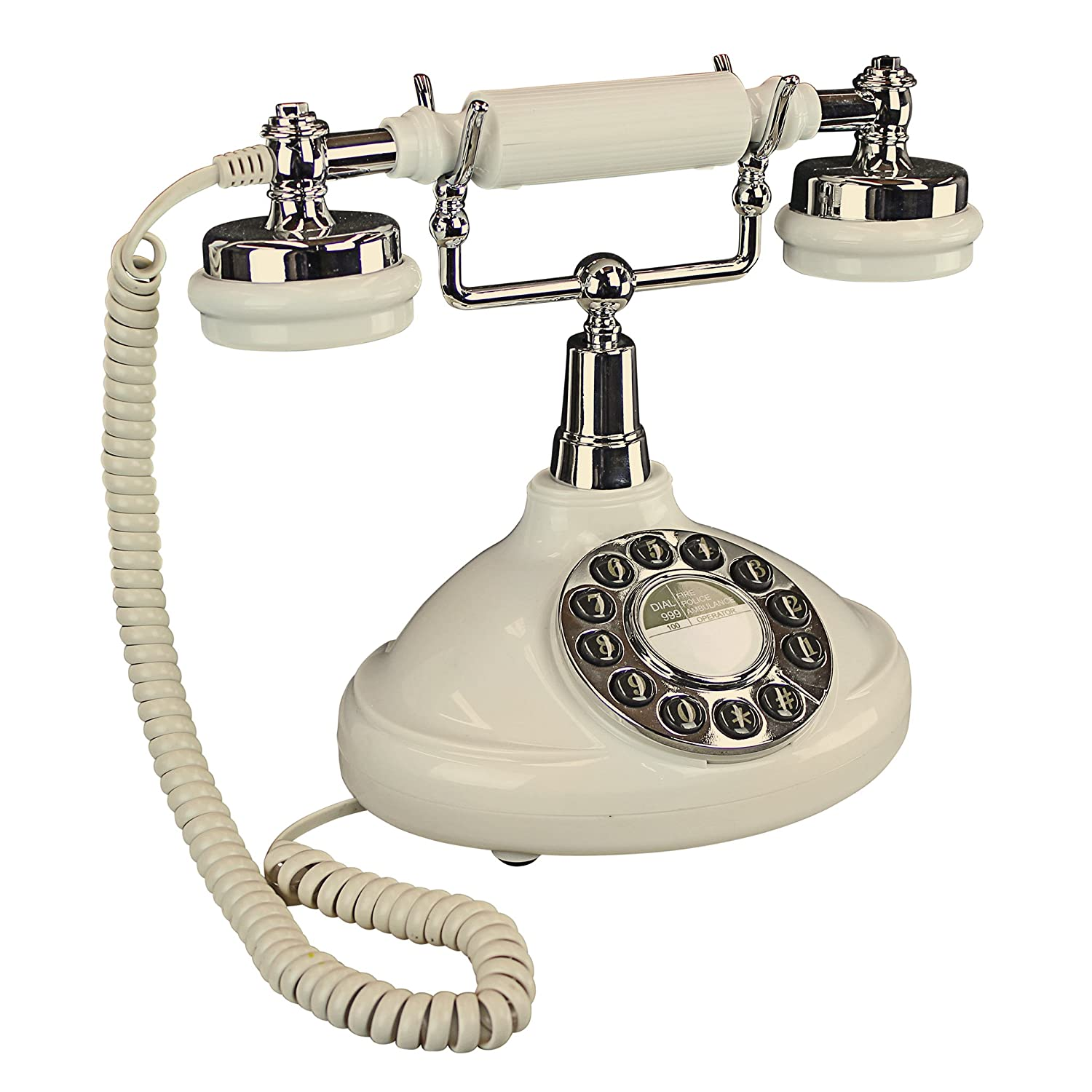 Design Toscano Brittany Neophone 1929 Rotary Corded Retro Phone-Vintage Decorative Telephones, one Size, White PM81920