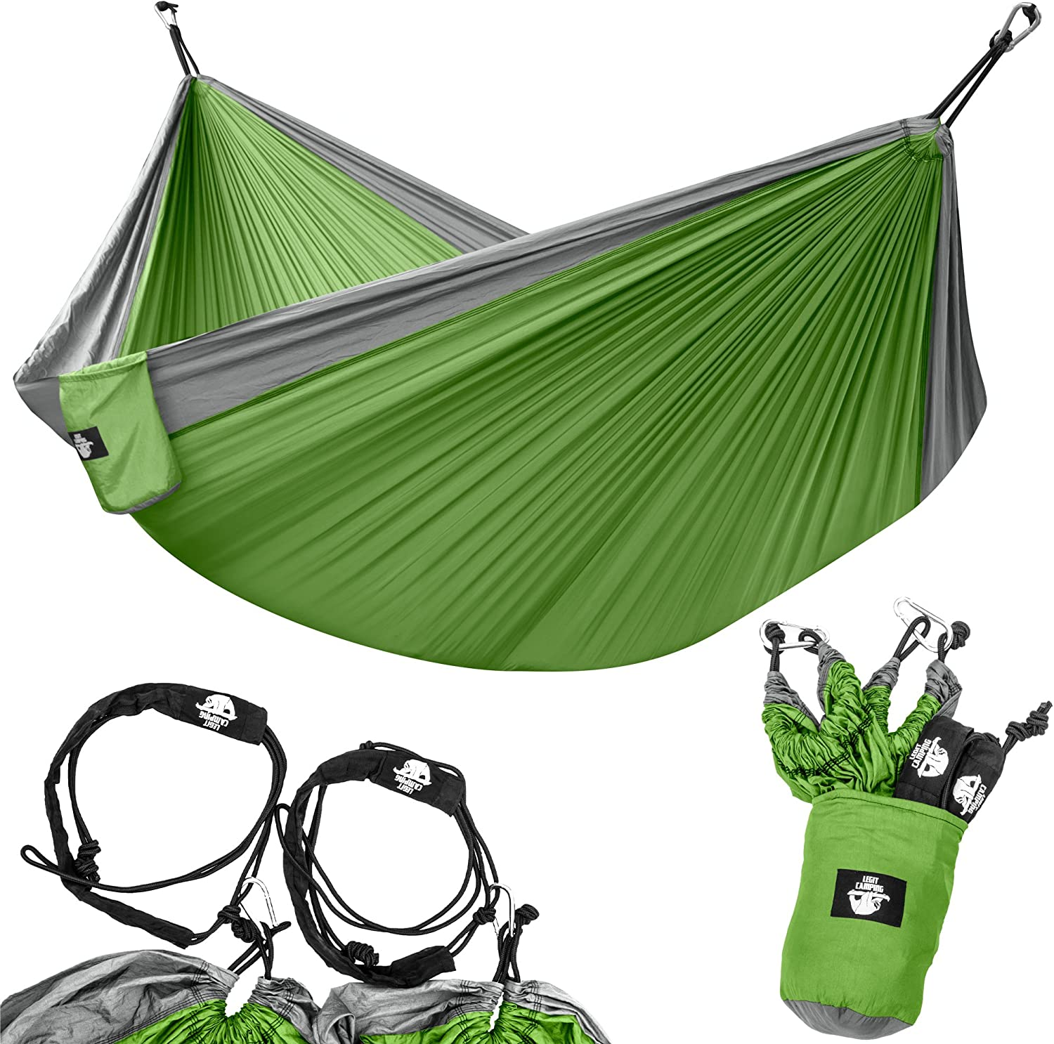 Legit Camping Portable Double Hammock - Grey/Lime Green - 400 lb Weight Capacity