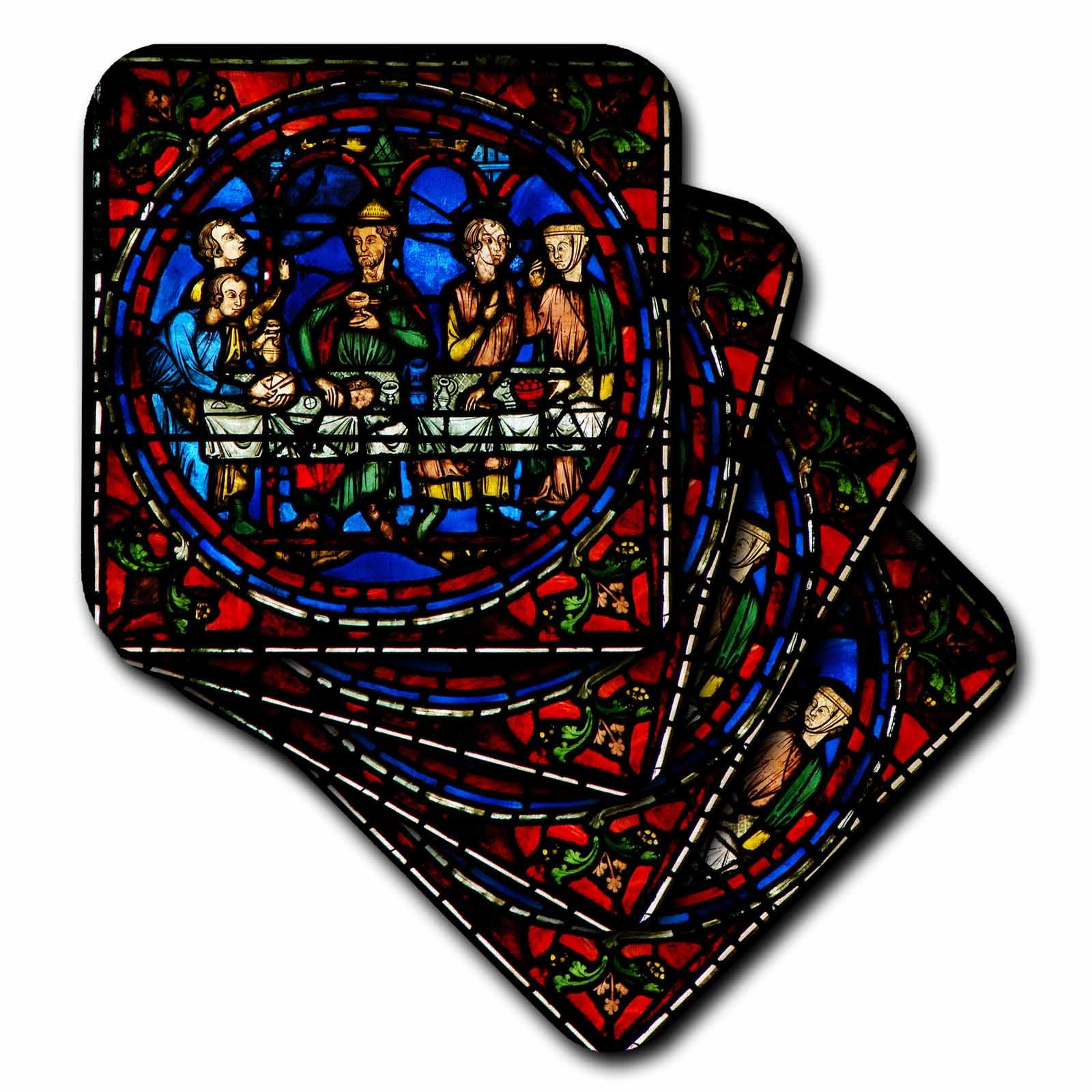 3dRose cst_239229_1 Notre Dame De La Belle Verriere Stained Glass Window in Paris (Set of 4) Soft Coasters