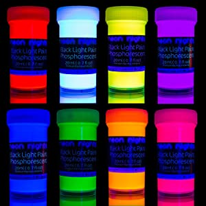 Premium Glow in The Dark Paint Set by neon nights – Set of 8 Professional Grade Neon Paints – Long-Lasting Self-Luminous Paint Handcrafted in Germany – Phosphorescent Glowing Neon Paint