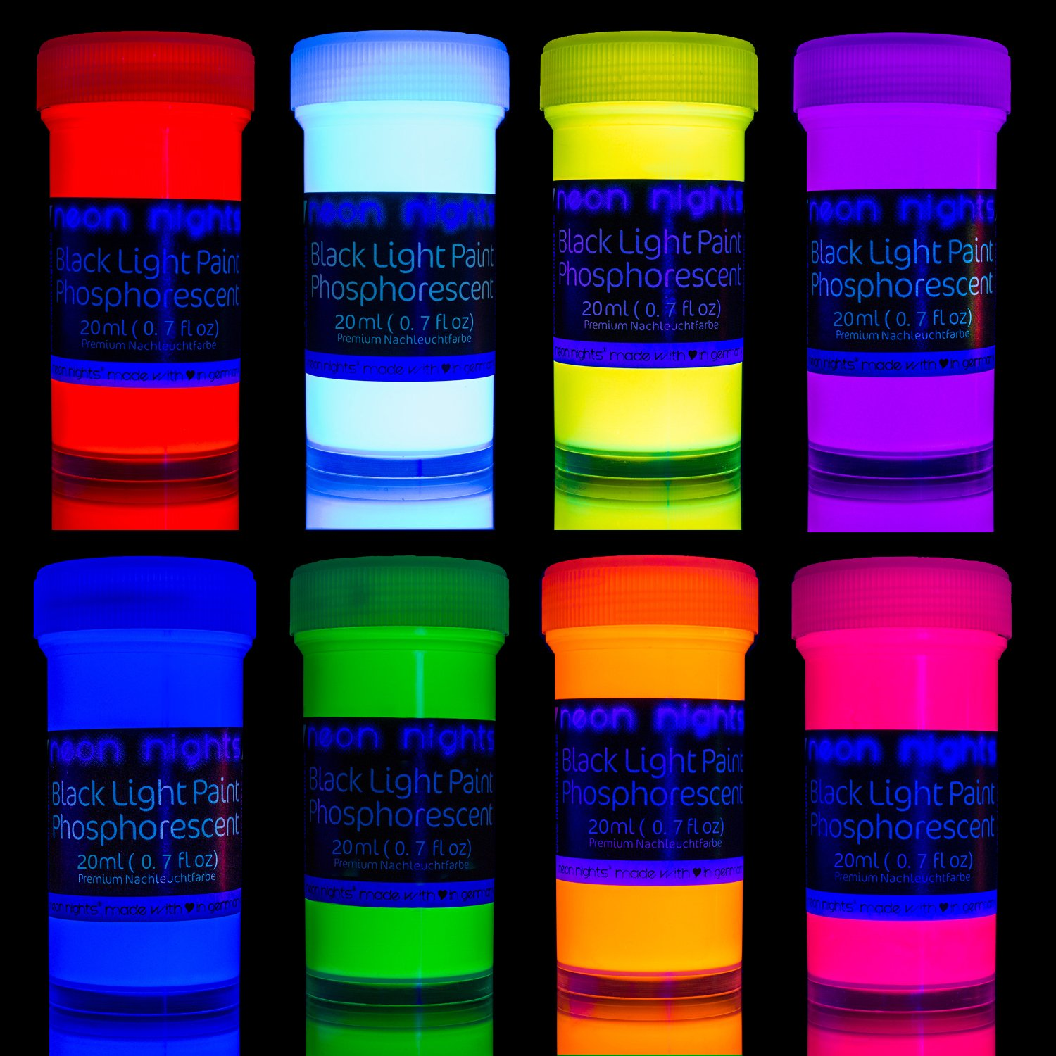 Premium Glow in The Dark Paint Set by neon nights - Set of 8 Professional Grade Neon Paints - Long-Lasting Self-Luminous Paint Handcrafted in Germany - Phosphorescent Glowing Neon Paint by neon nights