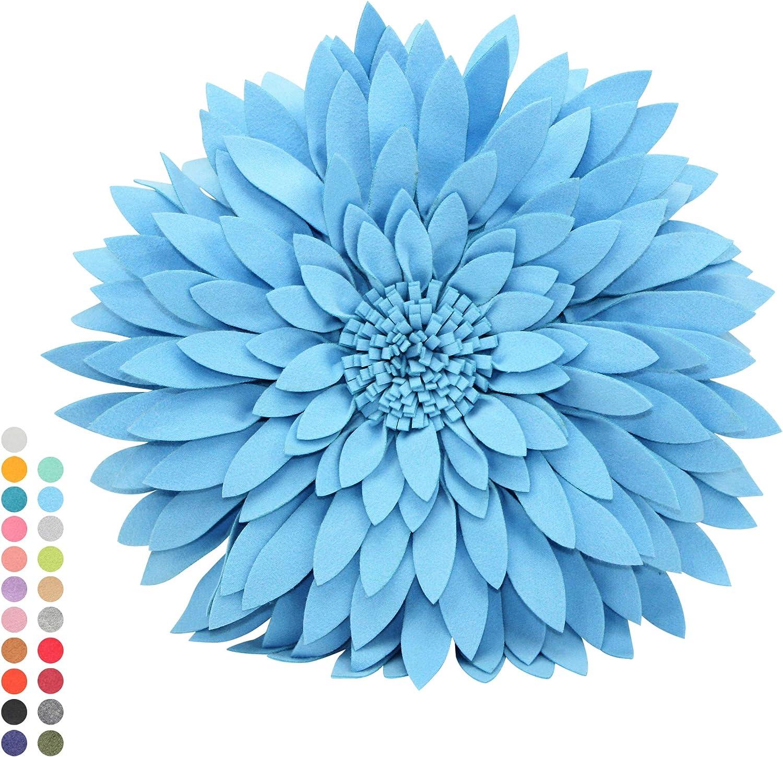 Contempo Lifestyles Flower Decorative Pillow - 3D Daisy Flower Pillow, Sunflower Throw Pillow - Flower Home Decorations - Couch & Bed Flower-Shaped Pillow, Solid Light Blue