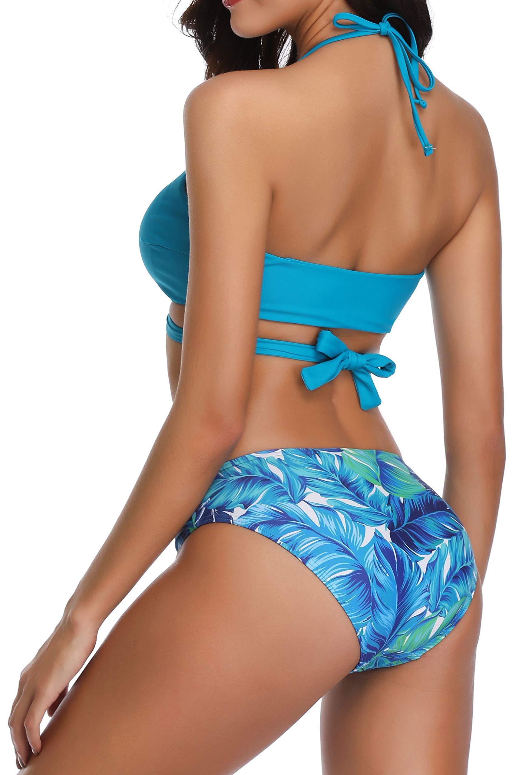 Women Halter Bandage Bikini Set Padded Push Up Two Pieces Swimsuit Bathing Suit Green M