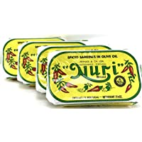 Nuri Portugese Sardines, Spicy, in Olive Oil 90g Each (Pack of 4)