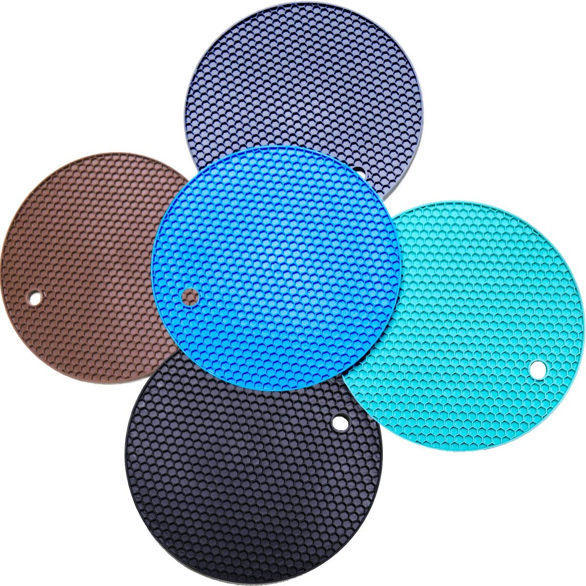 5 Pack Silicone Pot Holder Trivet Mats, Heatproof Trivets for Hot Dishes, Nonslip Insulation Honeycomb Rubber Hot Pads for Countertop, Extra Thick & Flexible Mats Heat Resistant Trivets (Multicolor)