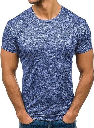 Andopa Verano tripulación de ocio cuello corto - manga de la camisa camisetas sólida para Hombres Azul Supergrande: Amazon.es: Ropa y accesorios
