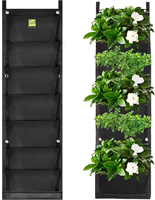koram 8-Pocket jardín maceta colgante, bolsa impermeable vertical para interior/exterior Living de pared balcón planta crecer bolsa 8 piezas de libre raíz Wrappers incluido: Amazon.es: Jardín