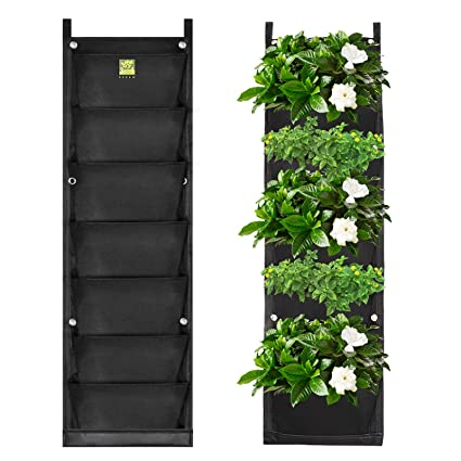 Koram 7 Pockets Vertical Garden Wall Planter Living Hanging Flower Pouch Green Field Pot Felt Indoor Outdoor Wall Mount Balcony Plant Grow Bag For