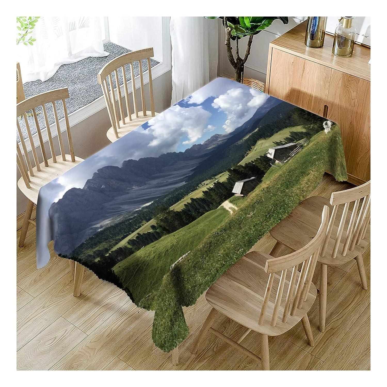 ZHAOXIANGXIANG Tabla Impermeable De Poliéster Impreso Digital Mat Hermosas Praderas Verdes Paisajes De Montaña Decoracion Un Mantel,140Cmtimes;280Cm