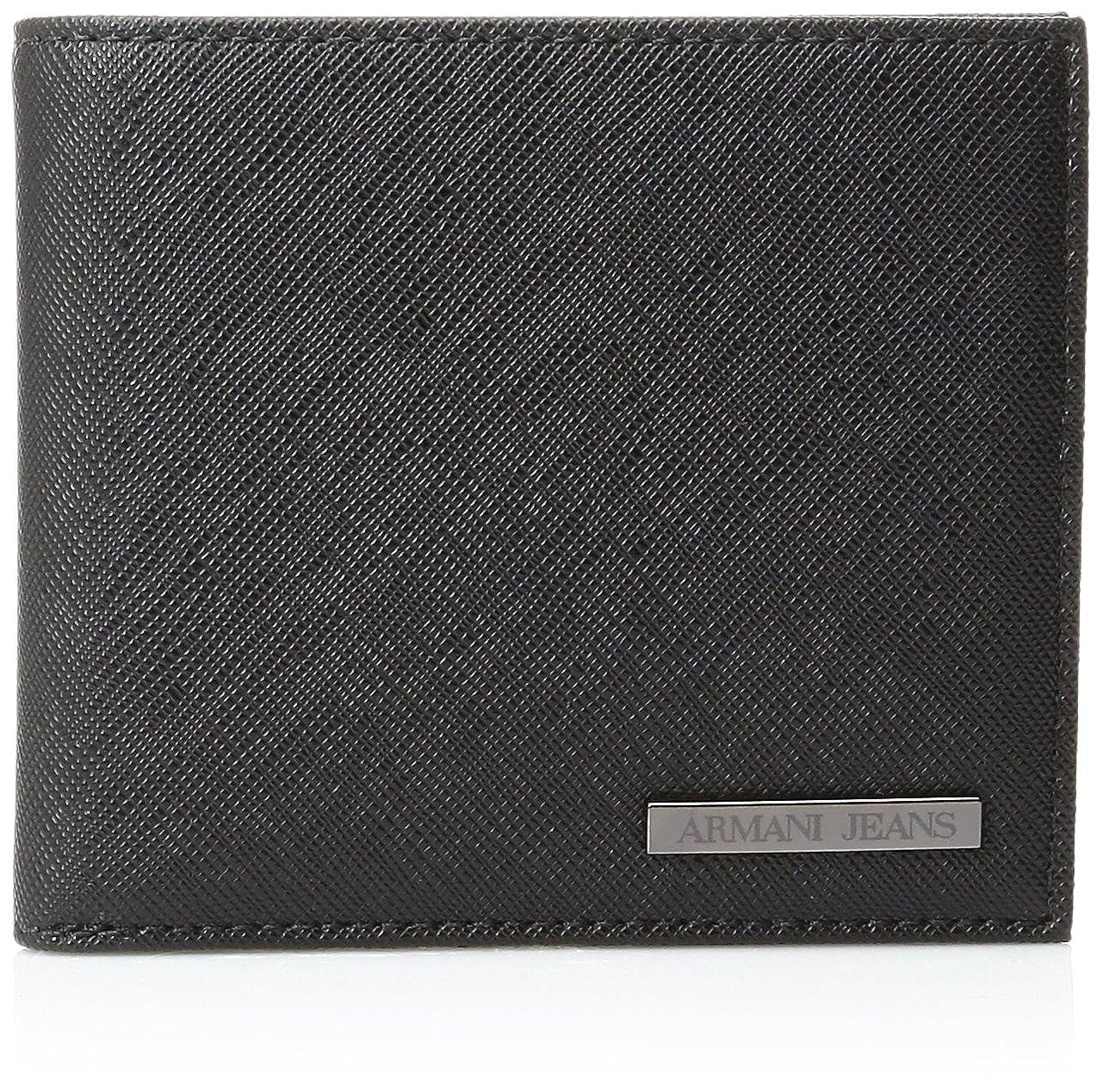Armani Jeans Men's Saffiano Embossed Bi-Fold Wallet Black One Size 938541-CC991