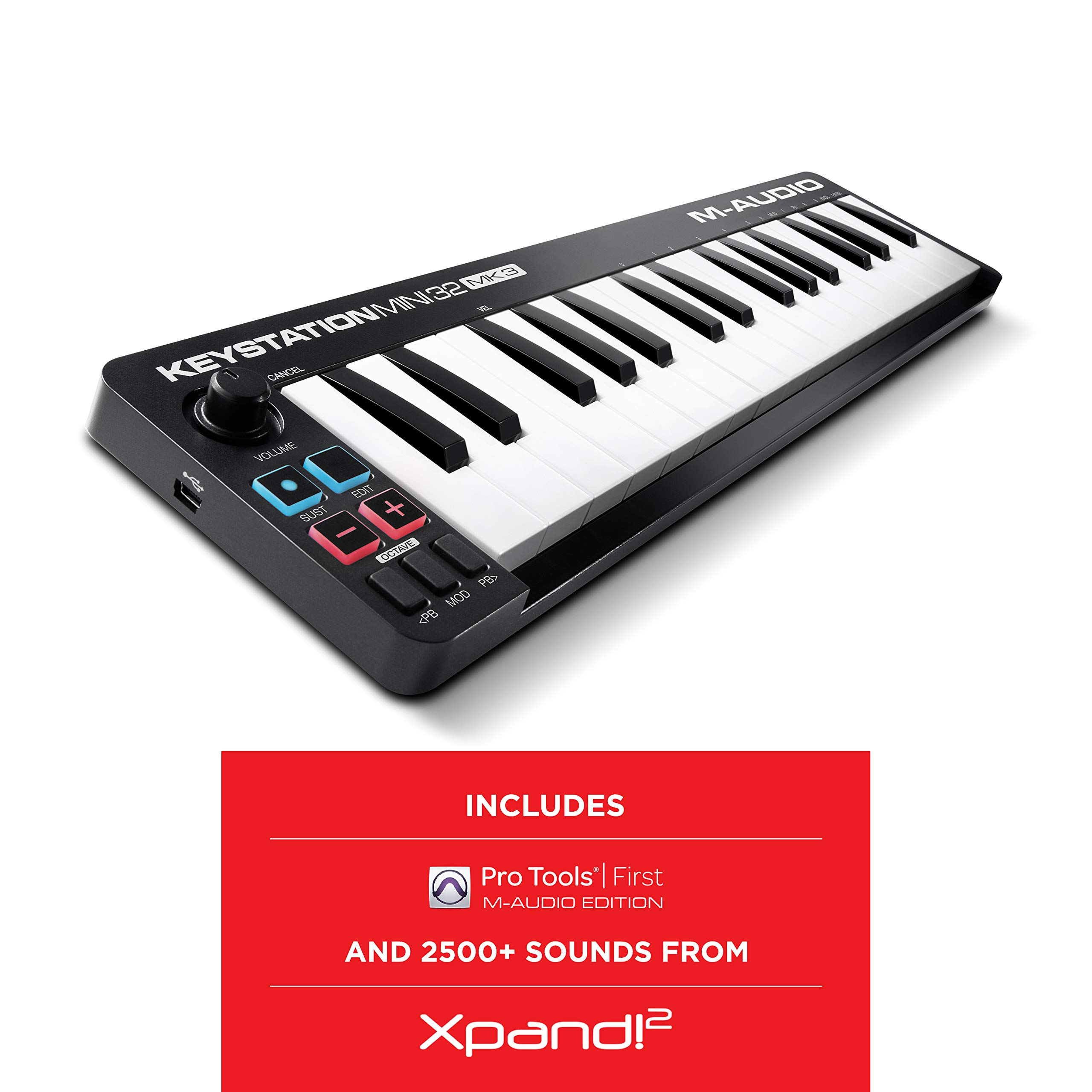 M Audio Keystation Mini 32 MK3 | Ultra Portable Mini USB MIDI Keyboard Controller With ProTools First | M Audio Edition and Xpand 2 by AIR Music Tech by M-Audio
