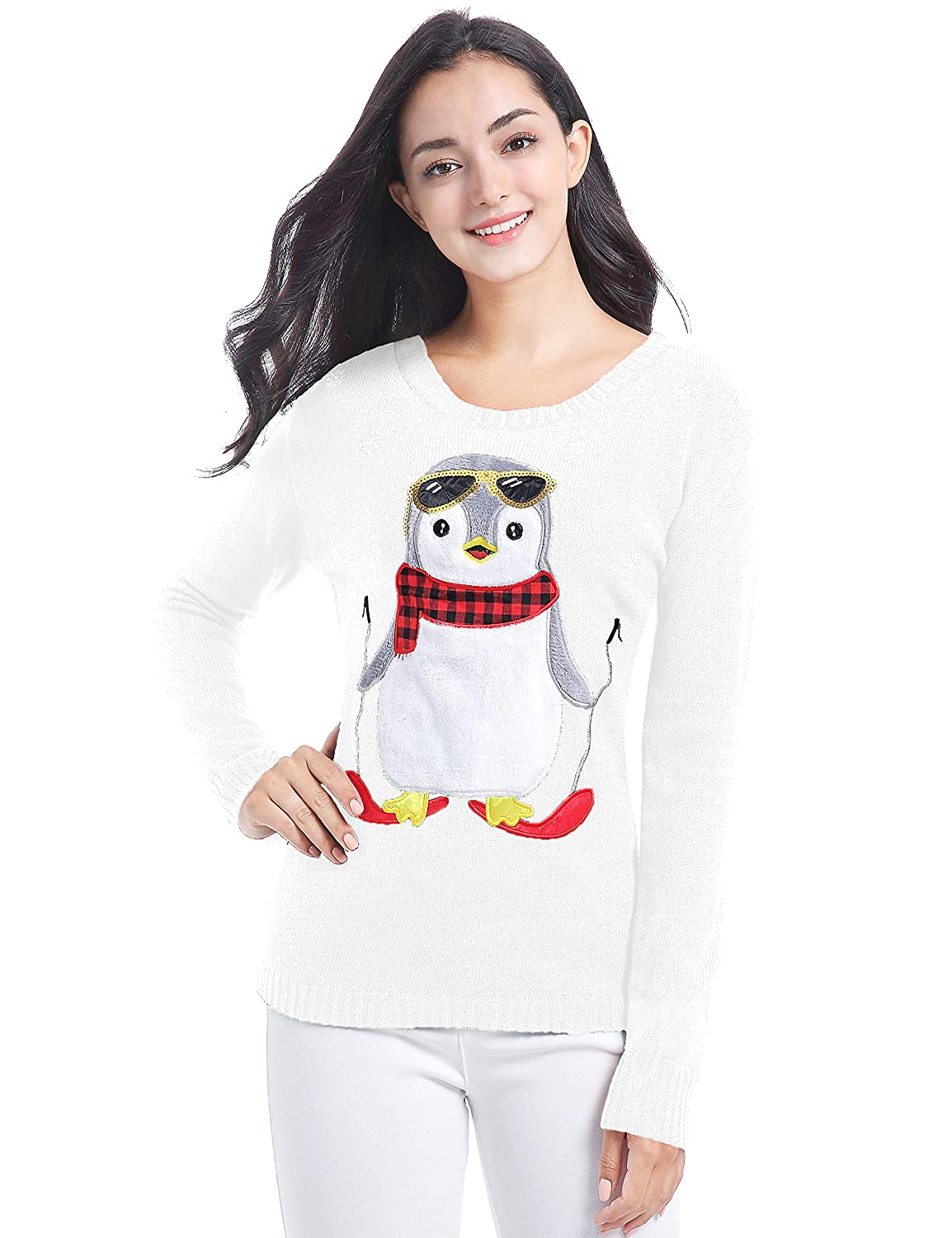 f2037c7f867 v28 Christmas Sweater for Women Girl Ugly Vintage Xmas Tunic Knit Womens  Sweater at Amazon Women s Clothing store