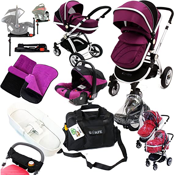 iSafe Complete Trio Travel System Pram & Luxury Stroller - Plum.