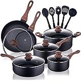 Allgetc Nonstick Cookware Pots and Pans Set, 16Pcs Kitchenware set with Frying Pan, Saucepan, Sauté Pan, Chef's Pan, PTFE/PFO