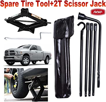 Autofu Tool Kit Fits 2002-2015 Dodge Ram 1500 Spare Tire Lug Wrench Tools and 2 Tonne Scissor Jack with Speed Handle