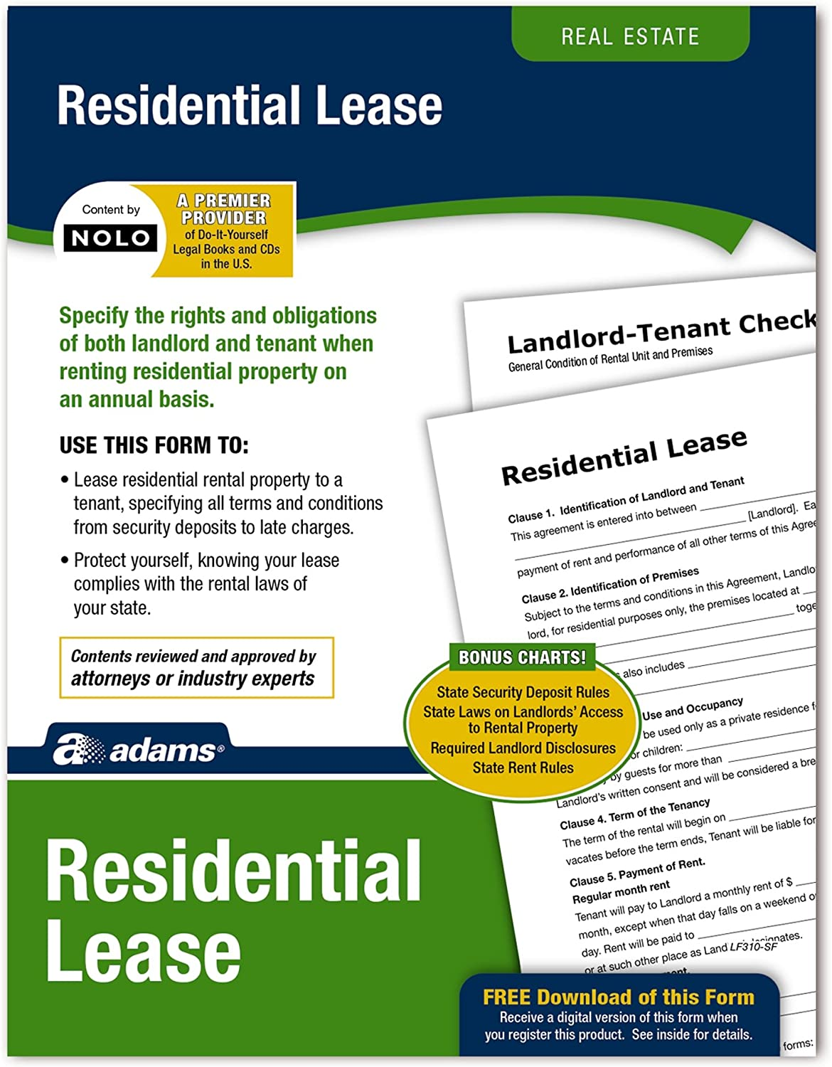 Adams Residential Lease, Forms and Instructions [Print and Downloadable] (LF310)