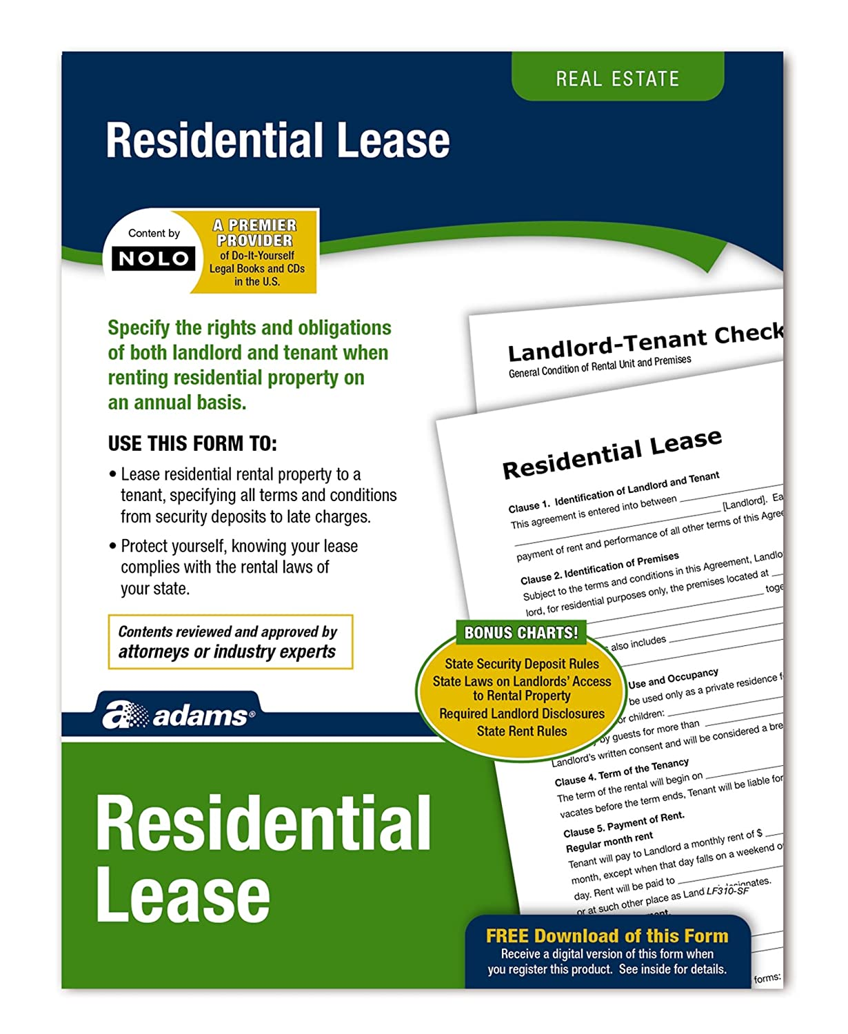 Adams Residential Lease Forms And Instructions Lf310
