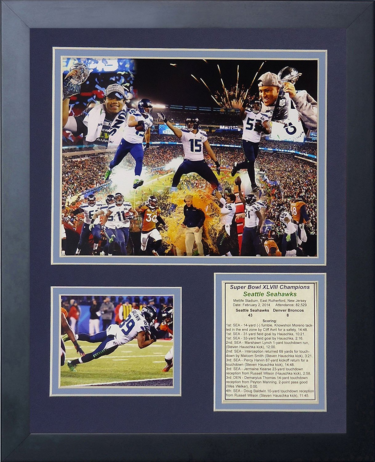 Legends Never Die 2014 Seattle Seahawks Super Bowl XLVIII Champions Framed Photo Collage, 11x14-Inch 46974U