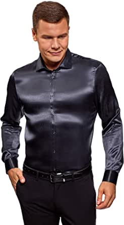 oodji Ultra Hombre Camisa de Raso Recta: Amazon.es: Ropa y accesorios