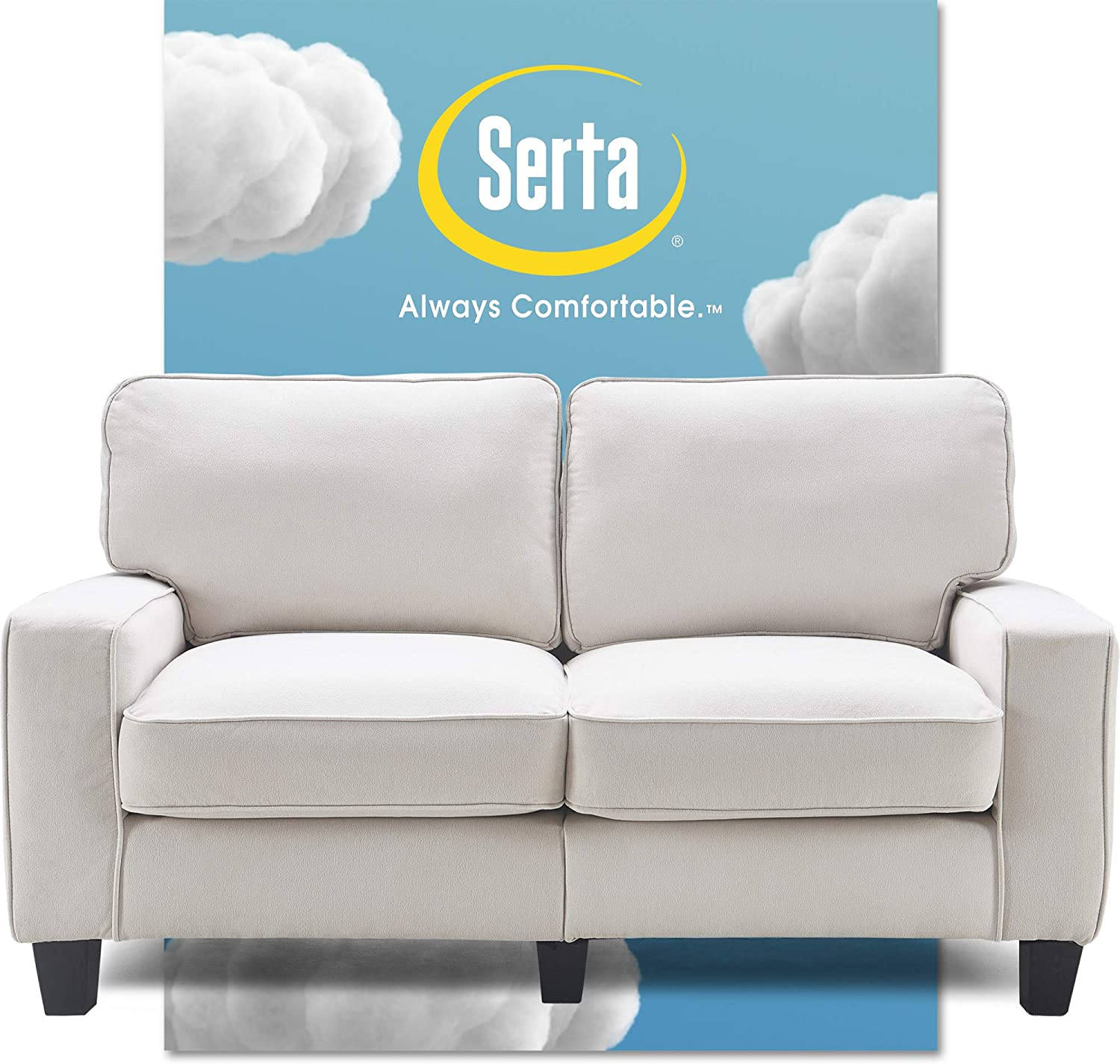 "Serta Palisades Upholstered Sofas for Living Room Modern Design Couch, Straight Arms, Soft Fabric Upholstery, Tool-Free Assembly, 61"" Loveseat, Cream"
