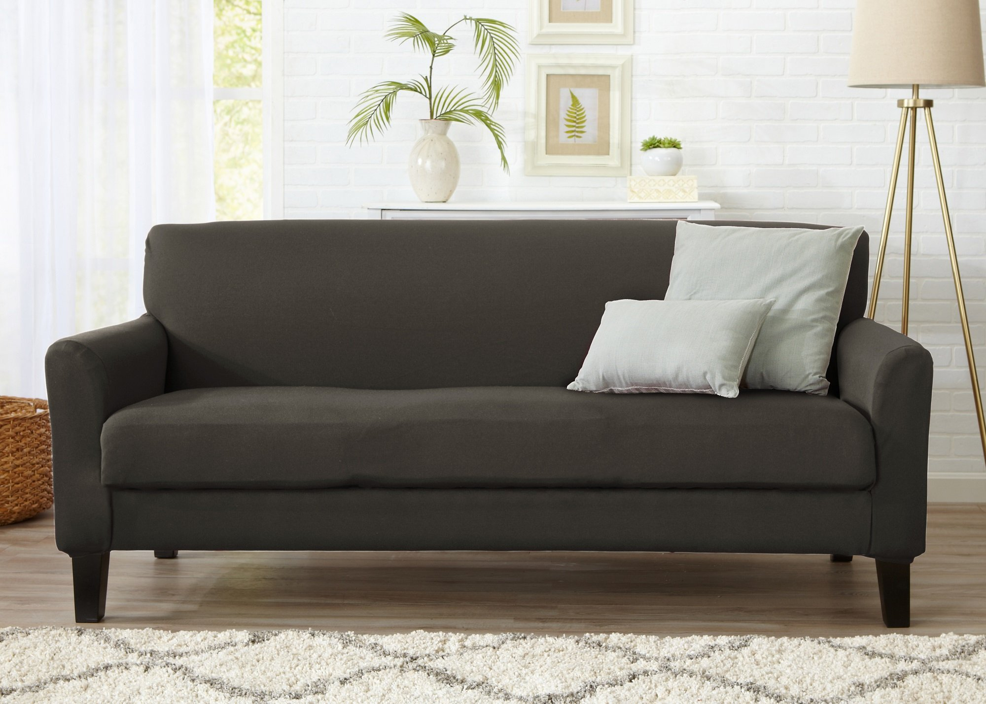 Home Fashion Designs Form Fit Stretch, Stylish Furniture Cover/Protector Featuring Lightweight Twill Fabric. Dawson Collection Basic Strapless Slipcover by Brand. (Sofa, Cloudburst Grey)