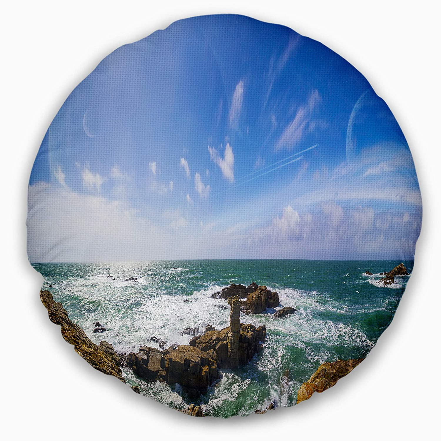 Sofa Throw Pillow 20 Designart CU9931-20-20-C Distant Planet System from Cliffs Seashore Round Cushion Cover for Living Room Insert Printed On Both Side