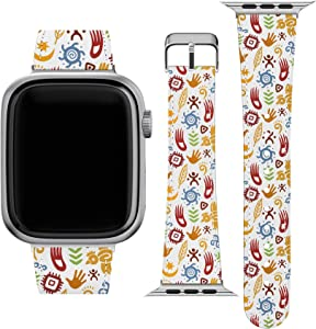 Lex Altern Band Compatible with Apple Watch Series 6 SE 5 4 3 2 1 38mm 40mm 42mm 44mm Native American Wristband Stylish Vegan Leather Mexican Tribal Art Replacement Strap for iWatch Traditional wh605