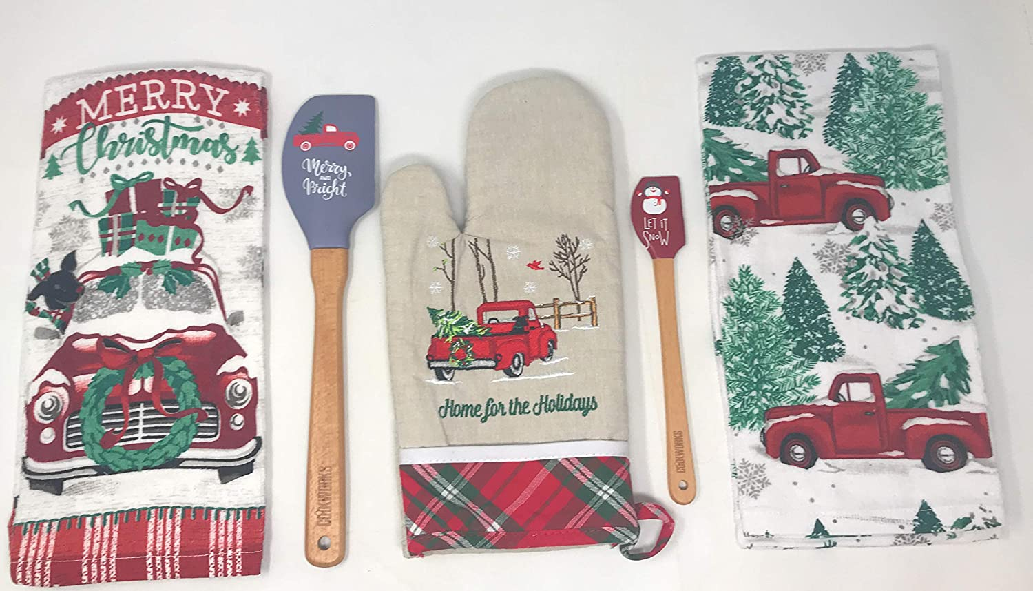 Vintage Red Truck Christmas Set, Includes 2 Kitchen Towels, a Pack of Spatulas, and an Oven Mitt. Bundle of 5