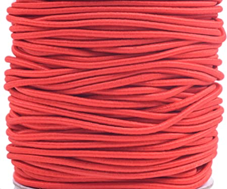 5 Yards CRIMSON Red Round Thin Strong Nylon Coated Rubber Stretch Cord for DIY Craft Beading Wrap Bracelet Jewelry 1mm ELASTIC Cord