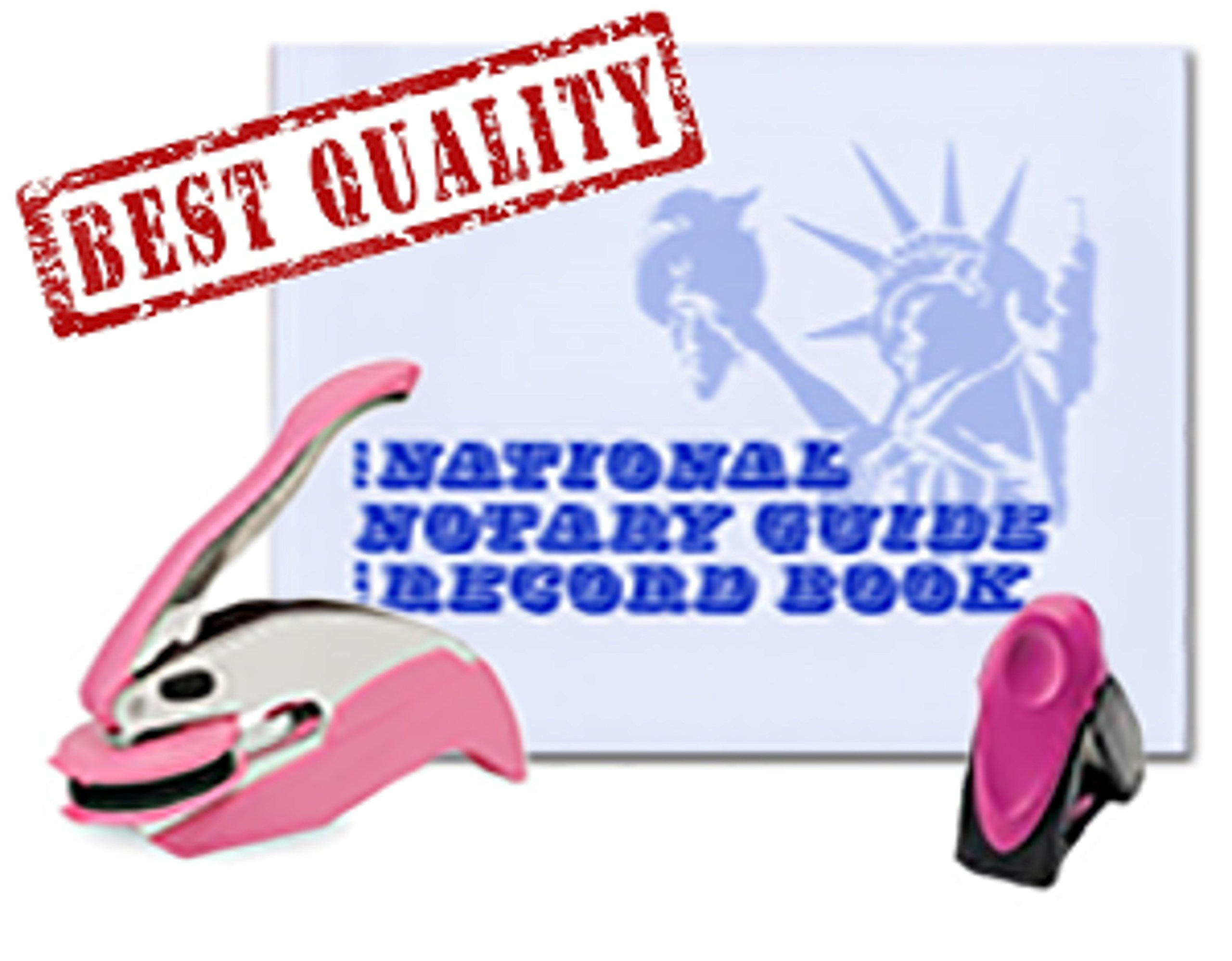 3 Product Breast Cancer Awareness Notary Supplies Value Package   Trodat Ideal Seal Embosser, Pink Mobile Printy 9412 Stamp, National Notary Guide Record Book   Maryland