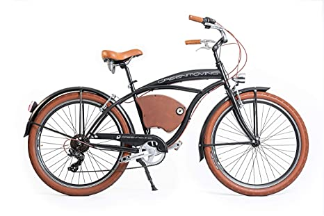 Green Moving Bicicletta Elettrica Vintage Cruiser E Bike Man Amazon