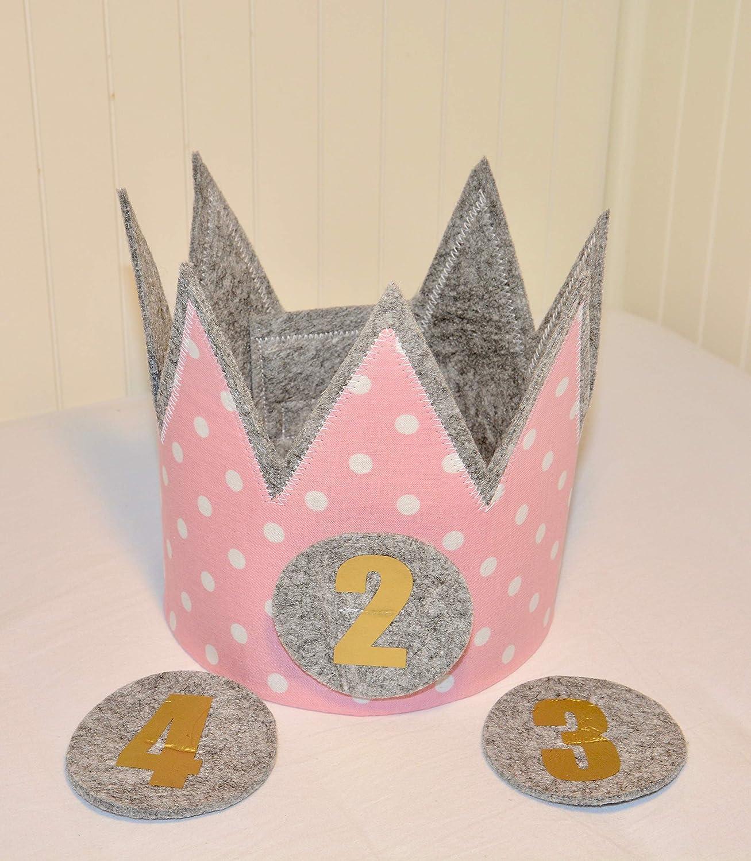 Der Wollprinz Geburtstagskrone, Krone, Kinder Geburtstag Kinderkrone Geburtstagskrone, Stoffkrone Pink mit den Zahlen 2,3,4