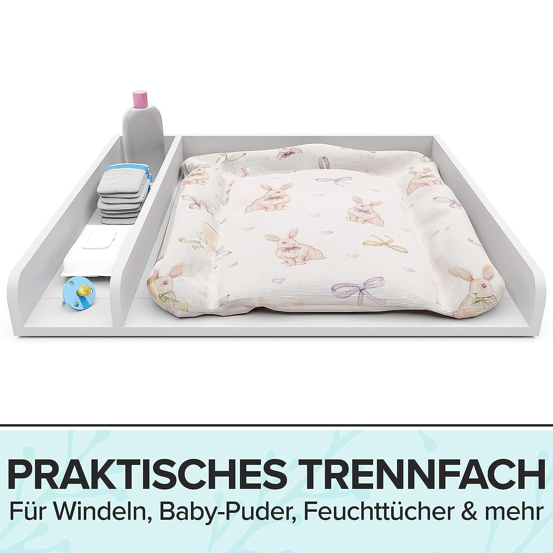 Pure Living Wickelaufsatz mit Trennfach Wickelaufsatz f/ür Kommode Wickelauflage Malm