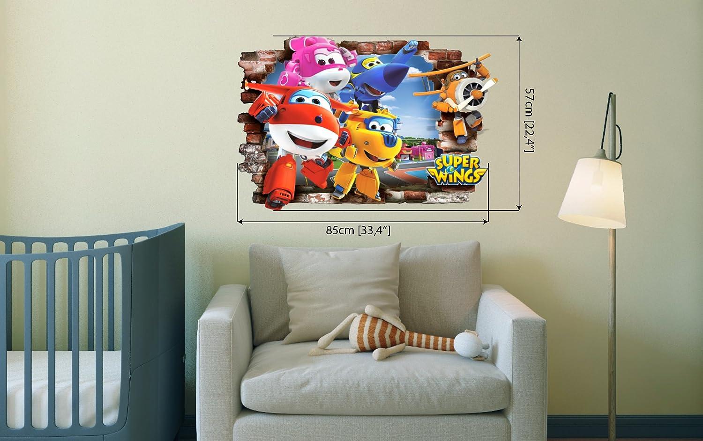Super Wings 3d Stickers muraux amovibles en PVC Home Decor DCAL Chambre /à coucher Autocollant Papier mural Stickers pour Kid Chambre de 57/cm x 85/cm
